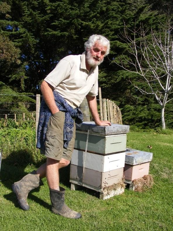 Beekeeper Brian Alexander of Tahekeroa, a familiar face around Puhoi and patron of the new Rodney Beekeepers' Club